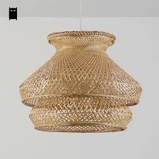 Wicker Pendant Light Bamboo Wicker Rattan Shade Chandelier Light Fixture Japanese