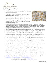United Bag Policy Plastic Bags Fact Sheet Earth Policy Institute