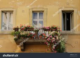 balcony red pink flowers on old stock photo 1532835 shutterstock