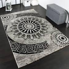 living room rug circle ornaments pattern mat grey black carpet