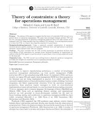 theory of constraints a theory for operations management pdf