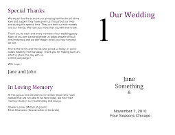 in memory of wedding program wedding program thank you wording criolla brithday