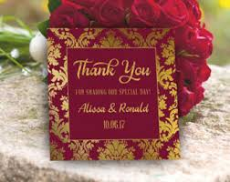 maroon and gold wedding burgundy gift tags etsy