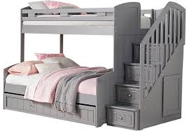 Bunk Beds Trundle Cottage Colors Gray Step Bunk Bed With Trundle