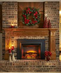 adorable brick wall design with marvelous wooden fireplace ideas