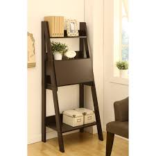 double leaning black wooden ladder shelf connected by black wooden