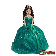 quinceanera dolls porcelain sleveless umbrella quinceanera doll with jade dress 18