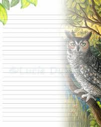 digital printable journal writing lined page bird 68 owl