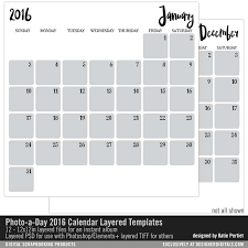 photo a day 2016 calendar layered templates katie pertiet pse