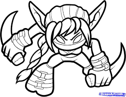 how to draw stealth elf skylanders stealth elf step coloring pages