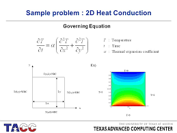 2 t 1 t 0 t 1 t 3 t 0 y wbc t x l nbc t l y ebc t x 0 sbc lx ly x y ex sample problem 2d heat conduction governing equation