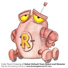 robot default robot monster colored pencils drawing