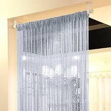 Silver Window Curtains Eyotool 1x2 M Door String Curtain Flat Silver Ribbon Thread