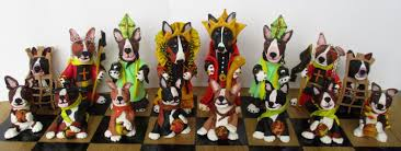 english bull terrier chess set 32 pieces each unique made