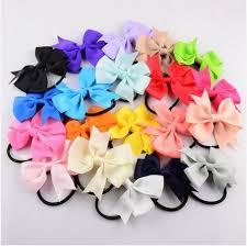 satin ribbon bows 2017 baby girl kids elastic hair bands rubber band satin ribbon