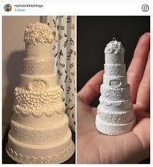 artist rachel makes tiny version of your own wedding cake