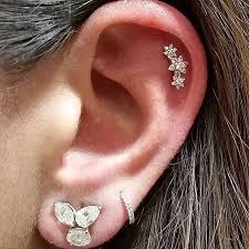second ear piercing earrings diamond flower garland threaded stud earlobe earrings