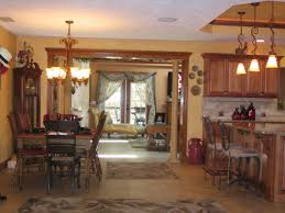 L Shaped Open Floor Plan Interior Kitchen Mesmerizing Pendant Lamps With Cool Wooden Dining