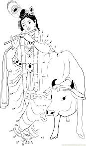 krishna with cow dot to dot printable worksheet connect the dots