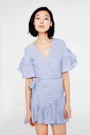 aeryne pinstripe wrap around frill dress shop from own the look uk