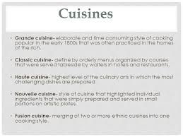 cuisine define history and philosophy ppt