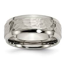 mens hammered wedding bands mens hammered titanium wedding band ring