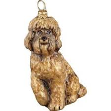 labradoodle ornament with unique dangling legs painted and