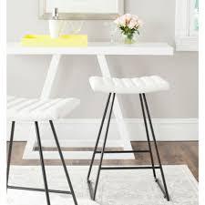 Modern White Bar Stool Safavieh Akito 26 In White Cushioned Bar Stool Set Of 2