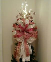White Bows For Tree 10 Bows Tree Toppers Ribbons White Canes Wired