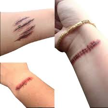 wound halloween makeup aliexpress com buy halloween zombie scars tattoos with fake scab