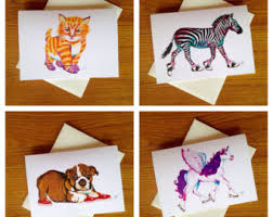 animal greeting card etsy
