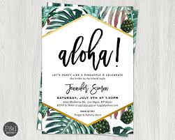 aloha luau bridal shower pineapple bridal shower invitation