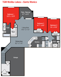 3 Bedroom Floor Plan by Tgm Malibu Lakes Apartments Tgm Communities