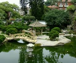 amusing japanese home garden idea with bamboo bridge and large