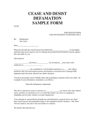 Assist Letter Of Demand Ceast And Desist Defamation Sle Form Defamation Cease And