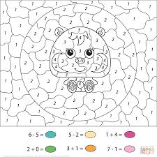 hamster calculation color by number free printable coloring pages