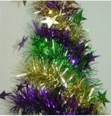 mardi gras trees and ornaments for decorations