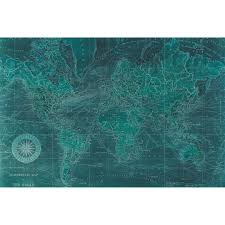 Map Me Home Azure World Map Tempered Art Glass