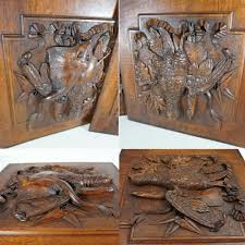 pair large antique black forest carved wood panels fruits of