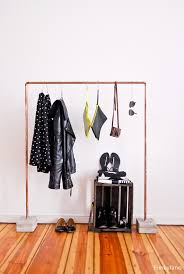 industrial diy copper and concrete clothes rack shelterness