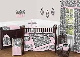 Girls Pink And Black Bedding by Amazon Com Sweet Jojo Designs Pink And Black Damask Sophia