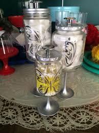 silver butterflies bathroom apothecary jars by kaaraskraftykorner