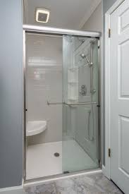 13 best bathroom shower base pan onyx collection images on a beautiful shower featuring trendy white subway tile a corner bench grab bar hand shower rainfall shower head custom picked options working together