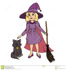 little wearing witch halloween costume and black cat stock