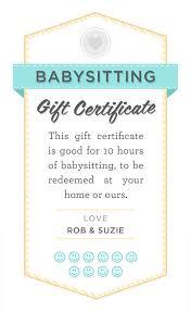 babysitter date night printable babysitting gift certificate