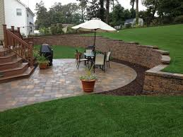 Patio Retaining Wall Ideas Decorating Awesome Patio Design With Cambridge Pavers And