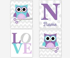 Owl Nursery Decor Baby Nursery Wall Lavender Teal Purple Name Print Owls