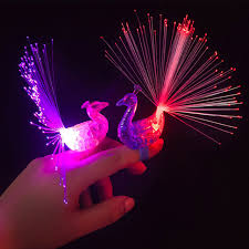 led light up rings 1 pc peacock finger light colorful led light up rings party gadgets