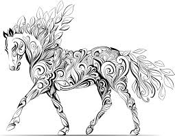 wondrous inspration coloring therapy adults 25 horse