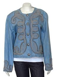 Double D Ranch Clothing D Ranch Wear Concho Studded Denim Jacket
